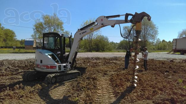 Аренда ямобура мини экскаватора Bobcat, Hitachi